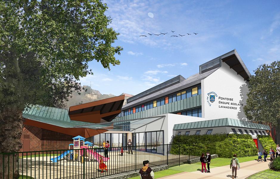 a5a, perspective d'architecture de l'école des Lavandières de Pontoise